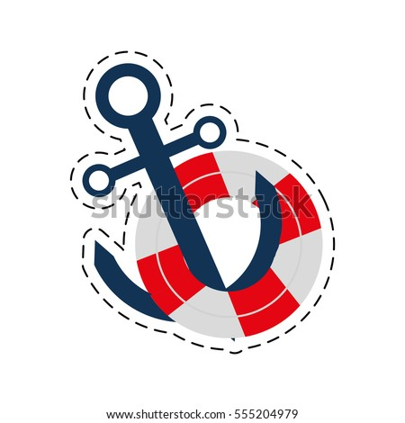 Buoy Anchor Nautical Travel Maritime Cut Line Vector Illustration Eps 10