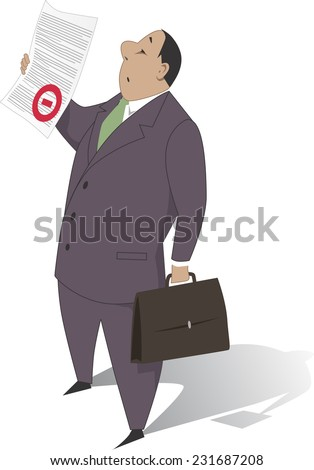 Bureaucrat holding a document with a red stamp, vector cartoon, no transparencies  - stock vector
