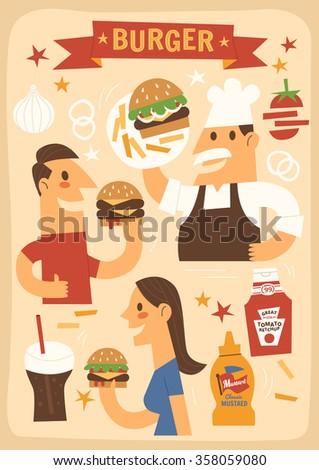 Burger - stock vector