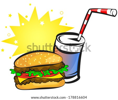 burger and can of soda, animation, vector