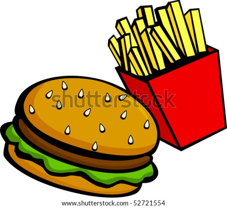 burger and fries - stock vector