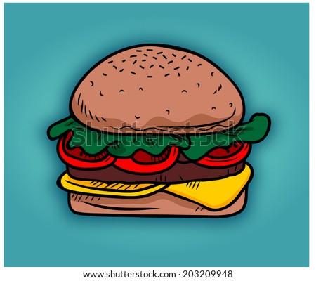 burger breakfast food vector - stock vector