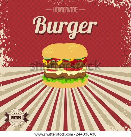 burger fast food retro template - stock vector