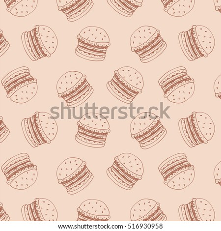 burger fast food vector pattern