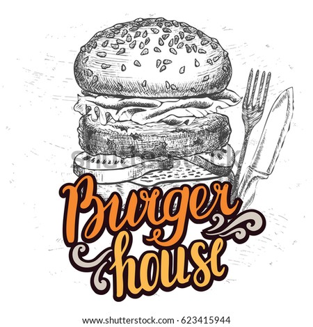 Burger food element for restaurant and cafe. Design poster with hand-drawn graphic elements in doodle style.