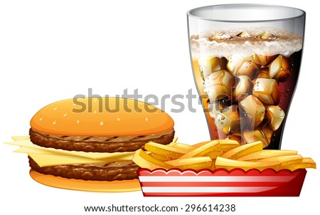 Burger, fries and a cola illustration
