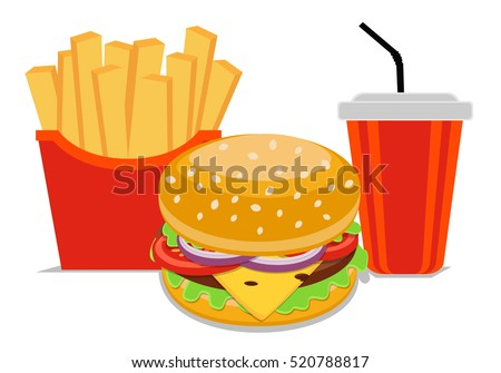 Burger Fries Cola set of fast food vector illustration, isolated on white background. template element for restaurant menu. office rush life style.