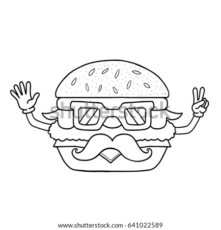 Burger Icon For Menu Cafe And Restaurant Coloring Book Isolated On White Background