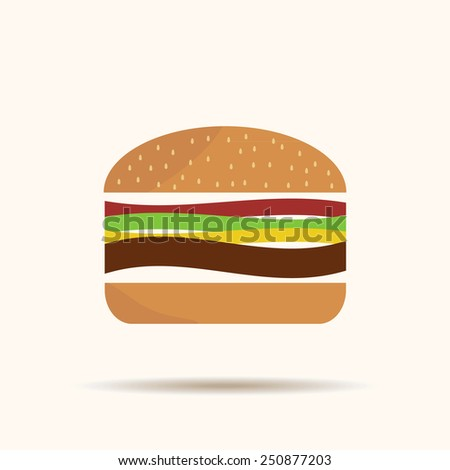 Burger icon with shadow isolated on yellow background classic original sign