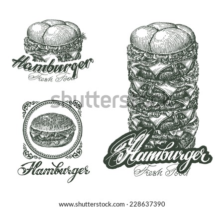 Burger icons, labels, signs, symbols and design elements. Vector illustration - stock vector