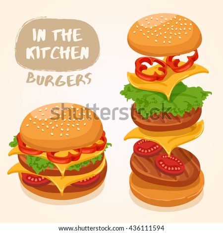 Burger Isolated Set : Vector Illustration