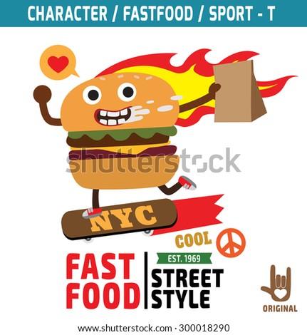 burger mascot character design.fastfood cartoon concept. t-shirt graphics.flat vector illustration - stock vector