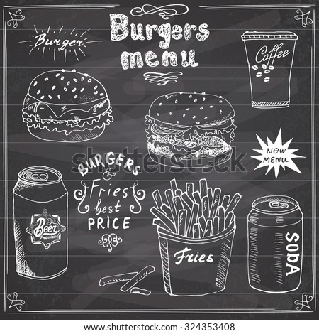 Burger Menu hand drawn sketch. Fastfood Poster with hamburger, cheeseburger, potato sticks, soda can, coffee mug and beer can. Vector illustration with lettering, on Chalkboard background. - stock vector