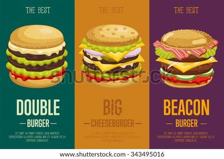 burger poster fast food menu designのベクター画像素材 343495016