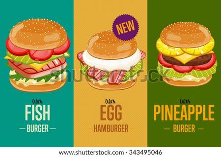 burger poster fast food menu design stock vector 343495046