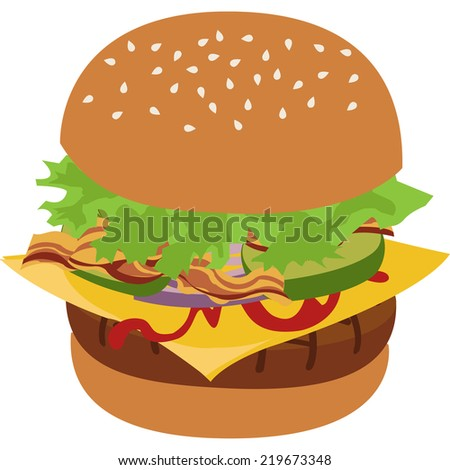 Burger vector isolated illustration. Illustration of tasty hamburger. Flat style vector illustration of cheeseburger. Burger icon image.