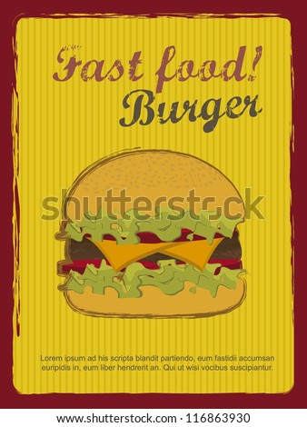 burger with meat announcement, vintage style. vector illustration - stock vector