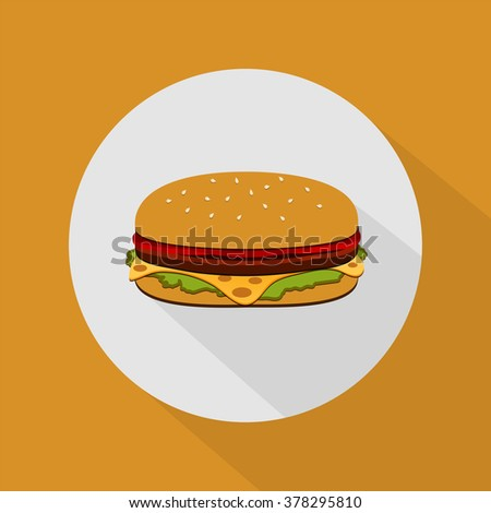Burger with salad, tomatoes, cheese and cutlet. Fast food.