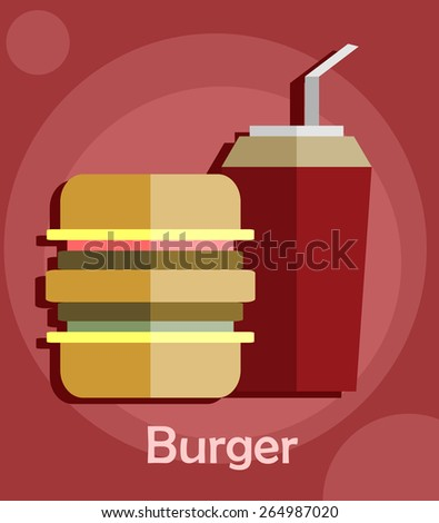 Burger with soda.Flat design illustration.  - stock vector