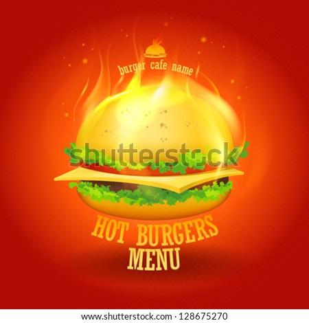 Burgers Menu Card Design template. Eps10 Vector. - stock vector