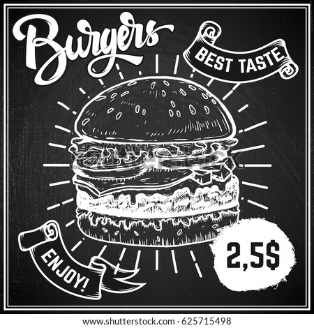 Burgers menu cover layout. Menu chalkboard with hand drawn illustrations of burger.