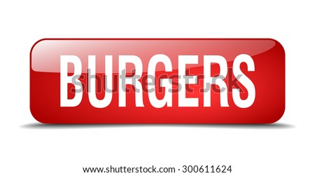 burgers red square 3d realistic isolated web button