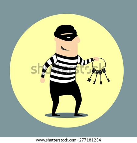 Burglar dressed in a mask and striped clothes carrying a bunch of keys inside a yellow circular icon, flat style - stock vector