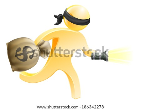 Burglar or thief with face mask running off with a big sack of money and a torch or flashlight - stock vector