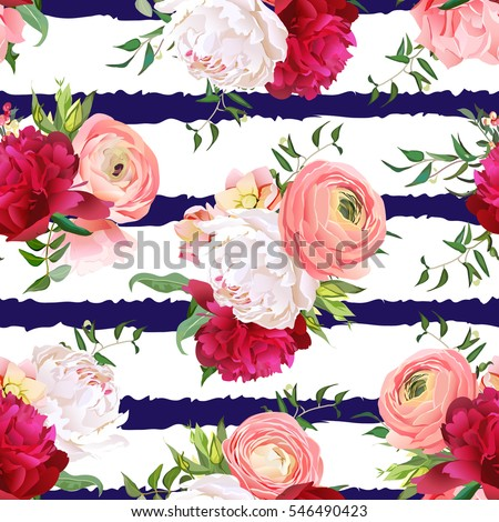 Burgundy red and white peonies, ranunculus, rose seamless vector pattern. Navy striped elegant print with luxury bright flowers.
