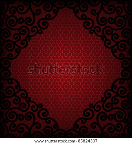 burgundy  reticulated  background with frame of black curls - stock vector