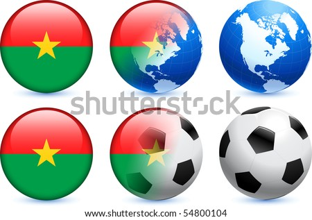 Burkina Faso Flag Button with Global Soccer Event Original Illustration