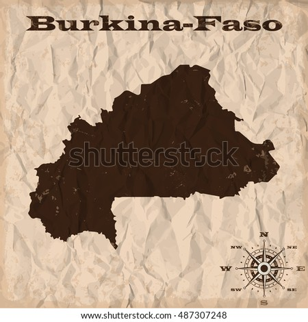 Burkina-Faso old map with grunge and crumpled paper. Vector illustration