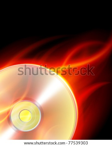 Burn compact disc with flame vector background. Eps 10