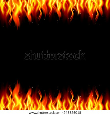Burn flame fire background. Vector illustration. - stock vector