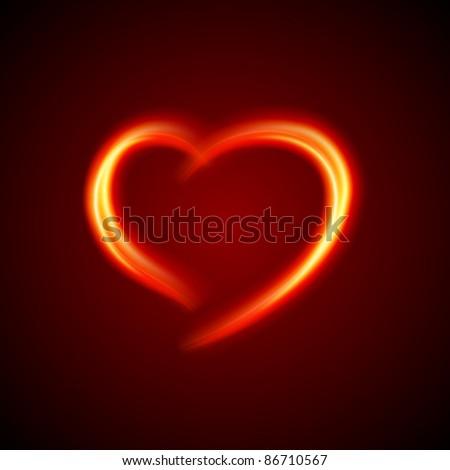 Burn heart shape flame fire vector background eps 10 - stock vector