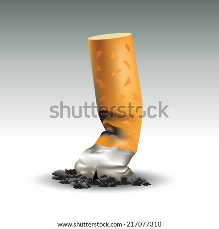 Burned cigarette. The last cigarette concept. Vector illustration
