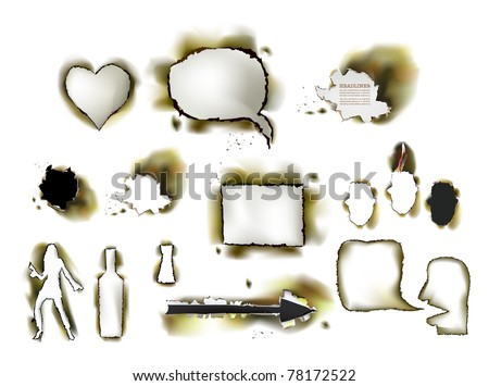 burned paper collection - stock vector