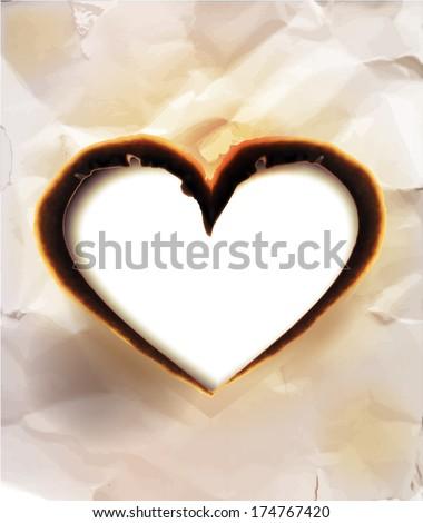 burned paper, heart shaped - stock vector