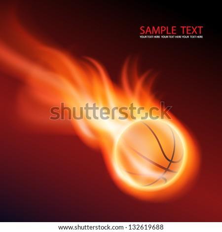Burning basketball. EPS10 vector. - stock vector