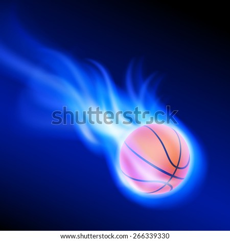 Burning basketball on blue fire. EPS10 vector. - stock vector