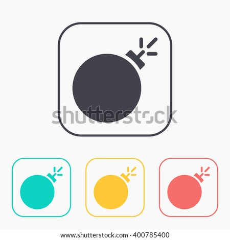 burning bomb vector color icon set  - stock vector