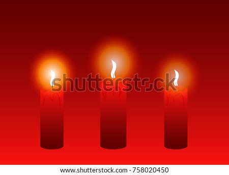 Burning candles. A set of red candles for decoration. Christmas. Celebration. New Year. Vector illustration. Eps 10.