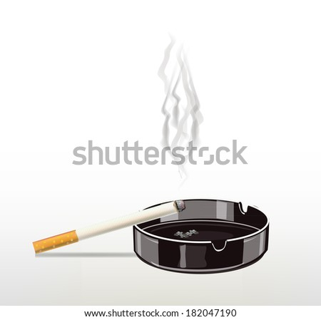 Burning cigarette in the ashtray .Smoking cigarette . - stock vector