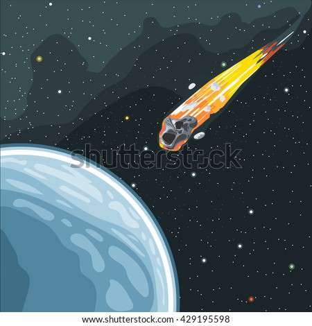 Burning comet flying in space to planet earth. Digital vector image. - stock vector