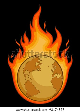 Burning Desolated Earth - stock vector