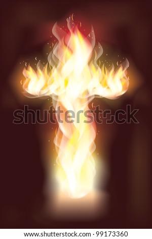 Burning fire cross, vector illustration - stock vector