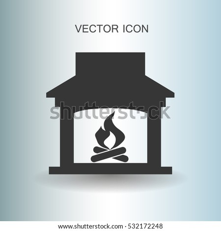 Red Sign Fireplace House Silhouette Symbol Stock Vector 96988154 ...