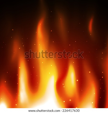 Burning flame vector background. Abstract fire with sparkles - stock vector