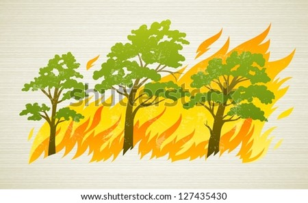 Burning Forest Trees Fire Flames Natural Stock Vector ...