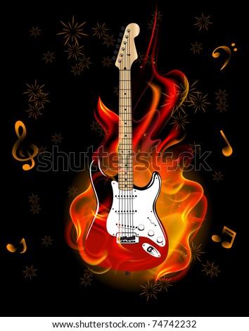 burning guitar - stock vector